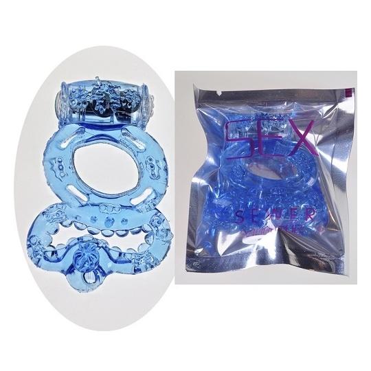Кольцо эрекционное голубое с вибрацией и с подхватом мошонки