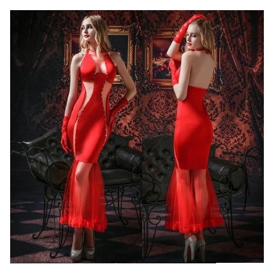 Сексуальное вечернее платье с трусиками и перчатками,